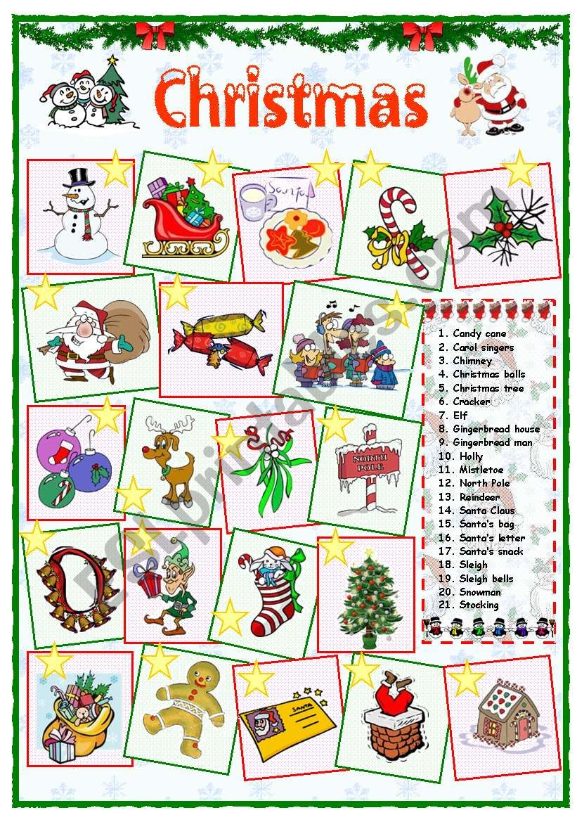 Christmas vocabulary (1 of 2) worksheet