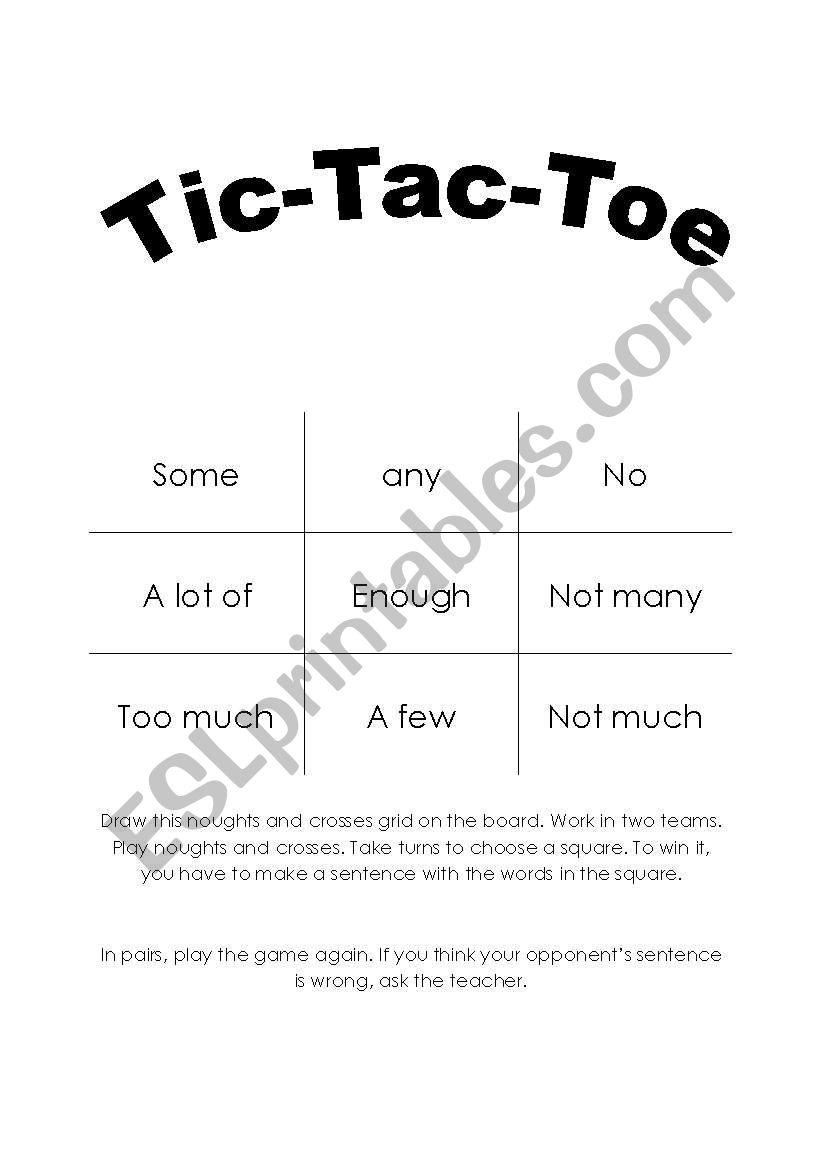Quantifiers - TIC TAC TOE worksheet