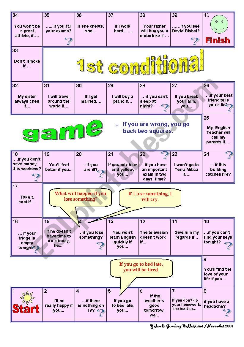 1st Conditional Game worksheet
