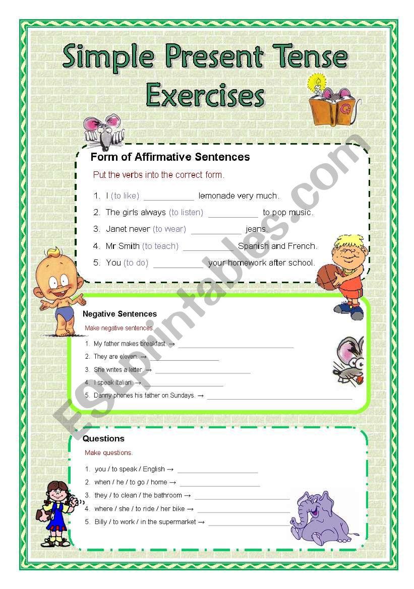 Simple Present Tense Exercises - ESL worksheet by janaj4491