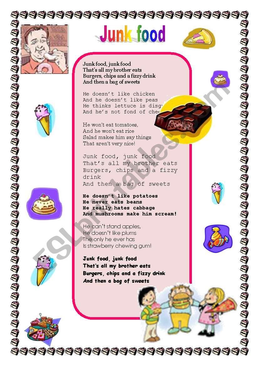 Junk Food Esl Worksheet By Daivluko