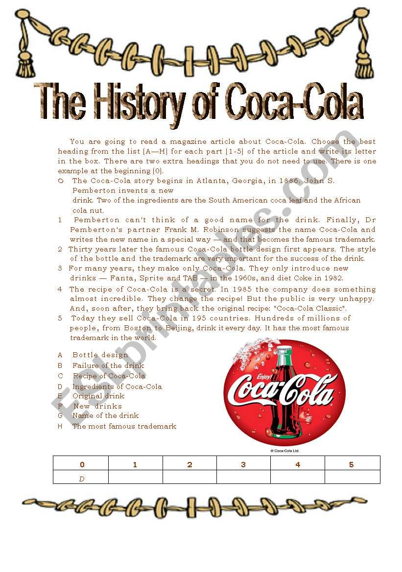 The History of Coca Cola worksheet