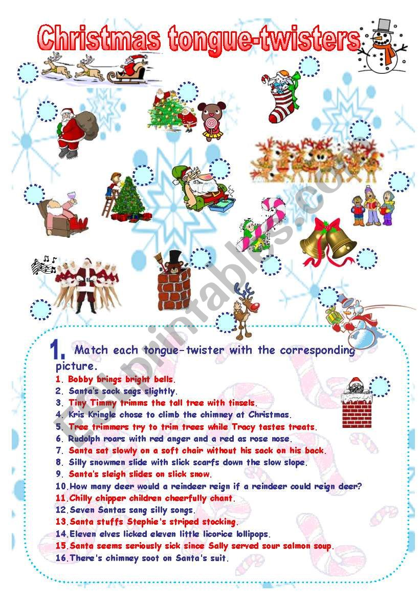 Fun and phonetics: Christmas tongue-twisters II - ESL worksheet by ...