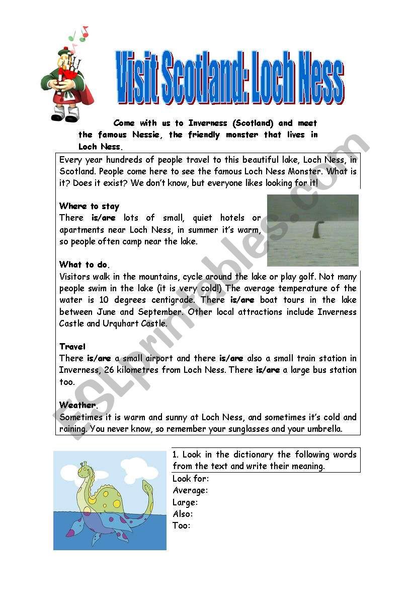 Loch Ness worksheet