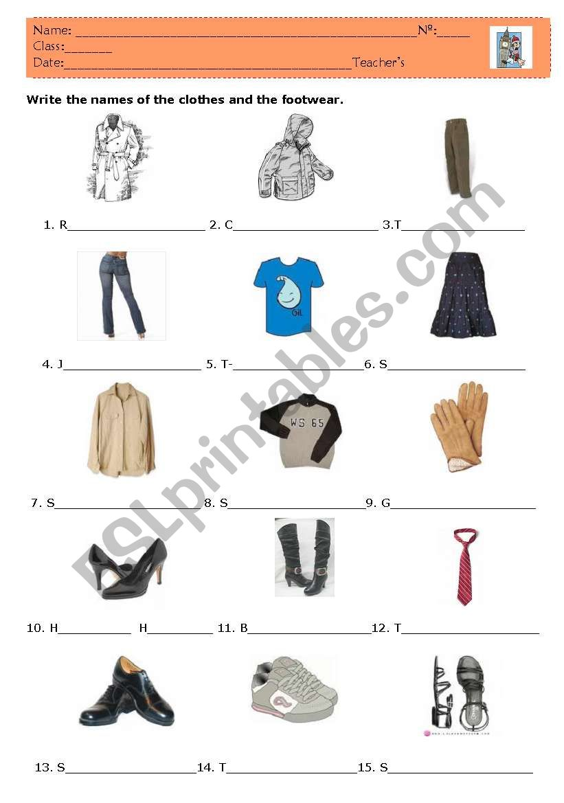Clothes and footwear worksheet
