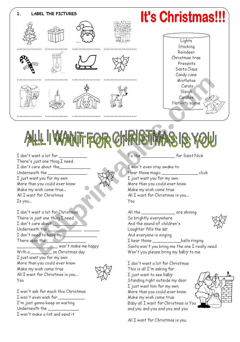 All I want for Christmas worksheet