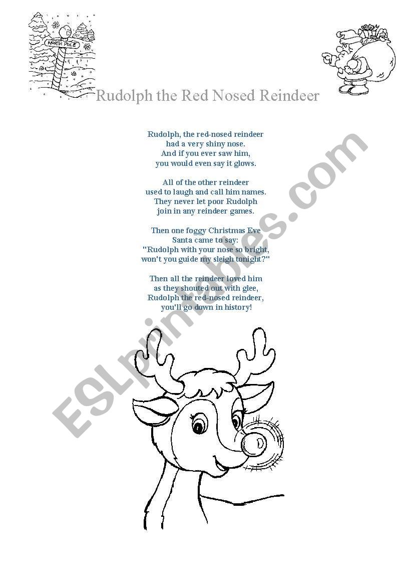 It is a picture of Gorgeous Words to Rudolph the Red Nosed Reindeer Printable