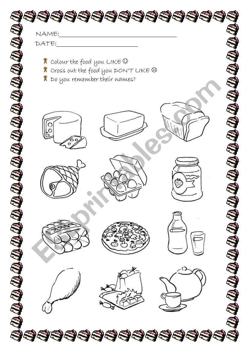 Food like & dislikes! worksheet