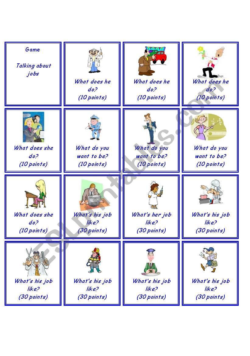 Game - Jobs worksheet