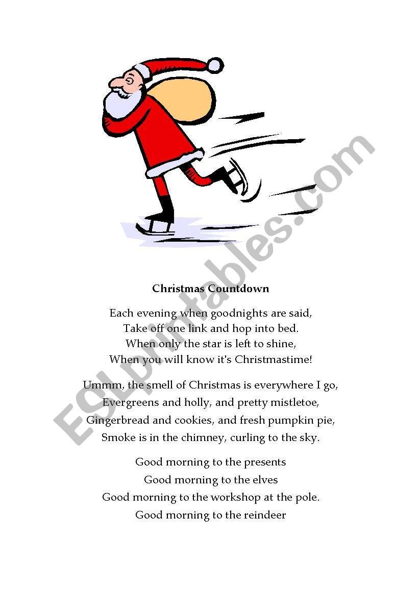 Christmas poetry - ESL worksheet by