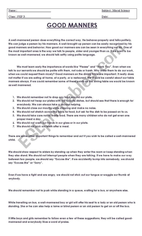 Worksheets Good Manners Worksheets good manners esl worksheet by bindiya worksheet