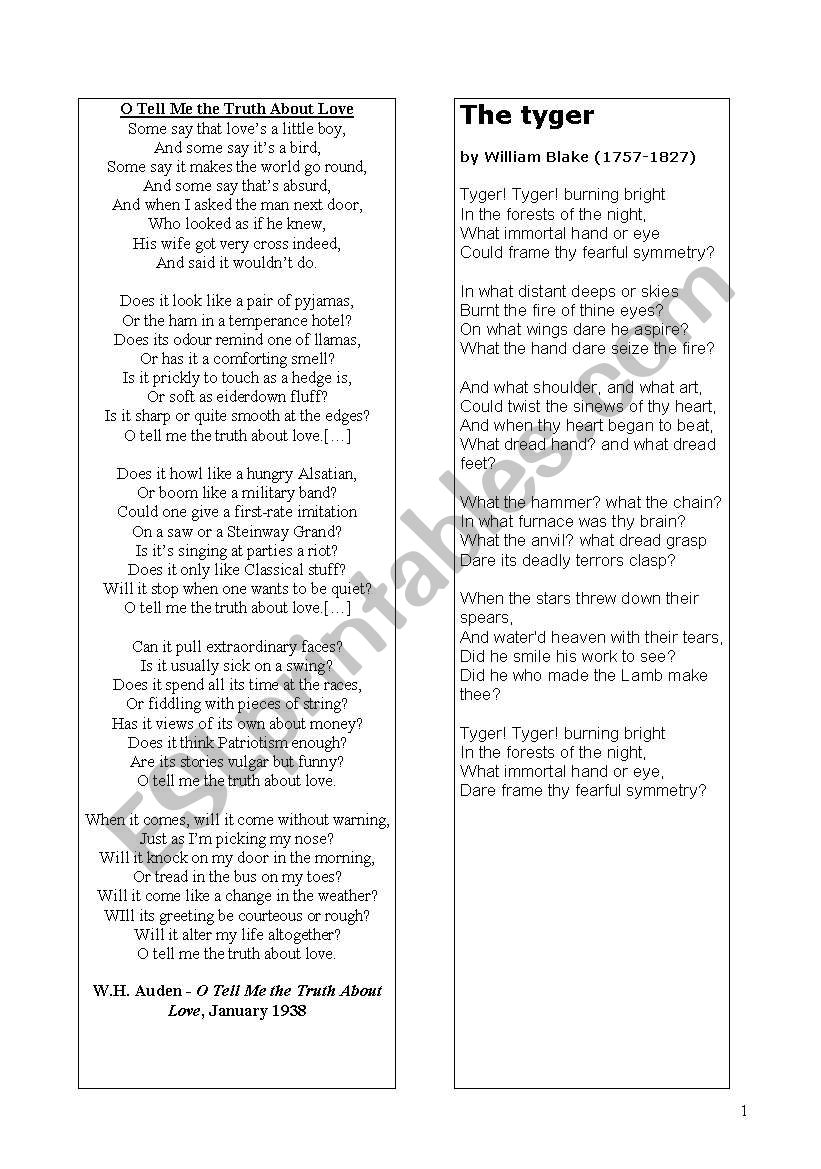 Creative writing. Poems built up with questions:The Tyger  by William Blake and O Tell Me the Truth About Love W.H. Auden
