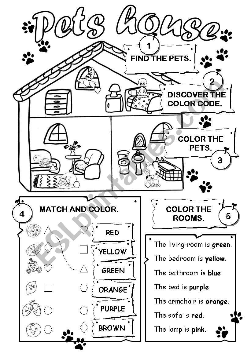 Pets house worksheet