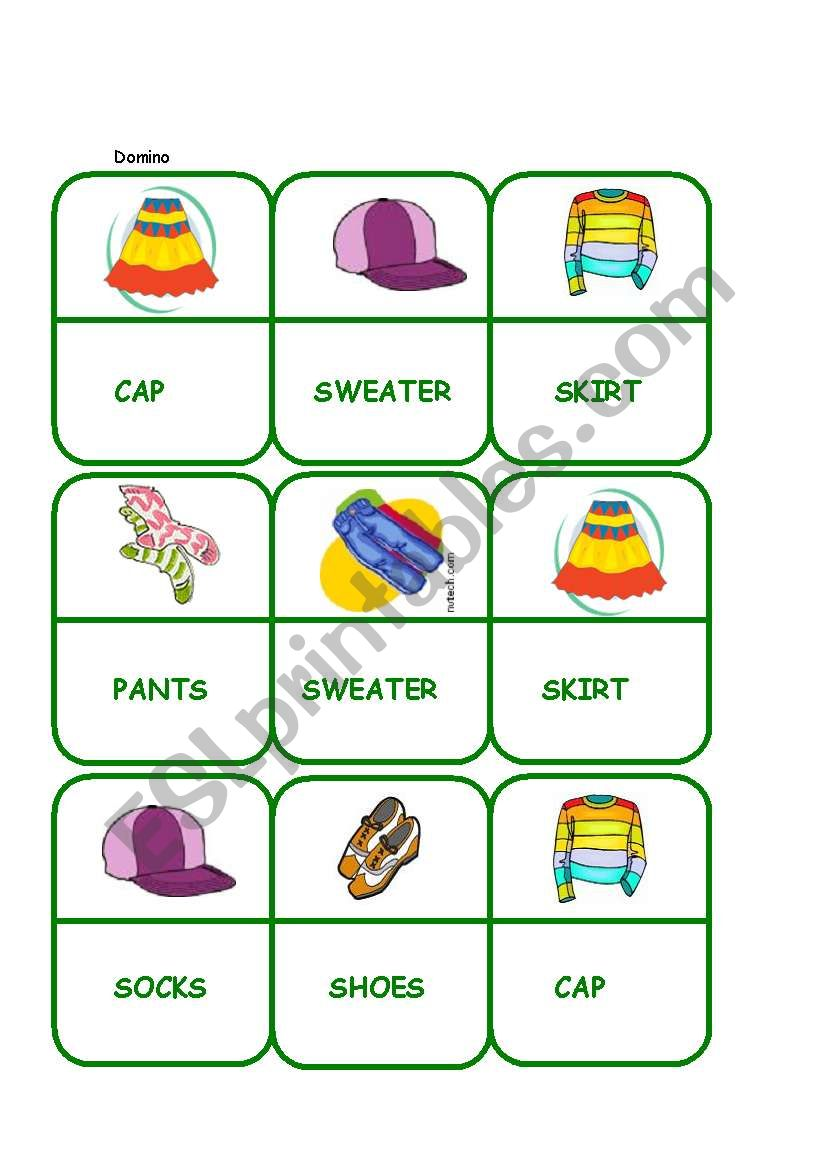 Domino - Clothes worksheet
