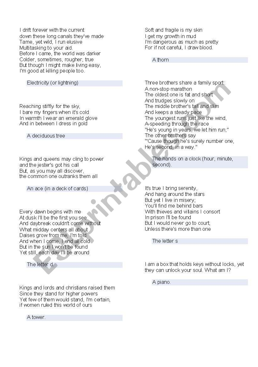 List of Funny Riddles - ESL worksheet by dexter137