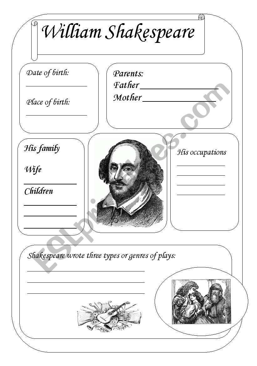 Worksheets Shakespeare Worksheets william shakespeare esl worksheet by svetic worksheet
