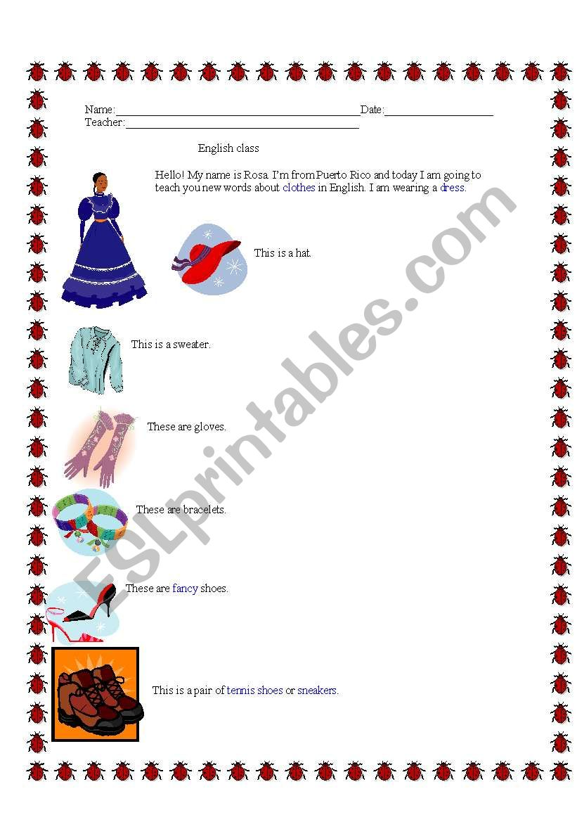 English Worksheet about Clothes