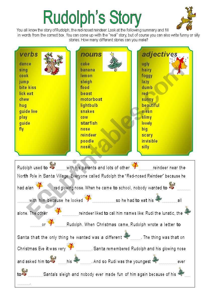 Rudolph´s story worksheet