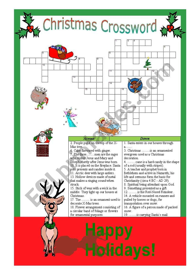 christmas crossword answers are provided - Christmas Crossword Answers