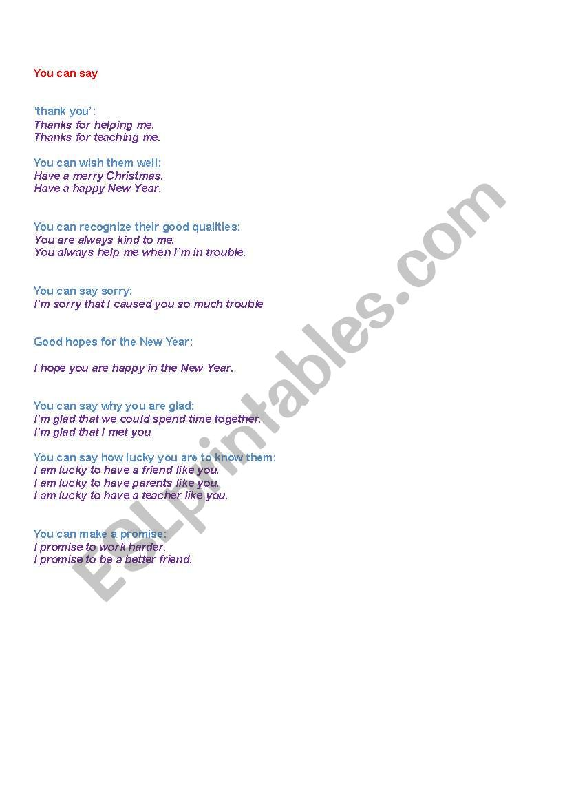 Christmas Card Phrases.English Worksheets Christmas Card Phrases To Be Given With