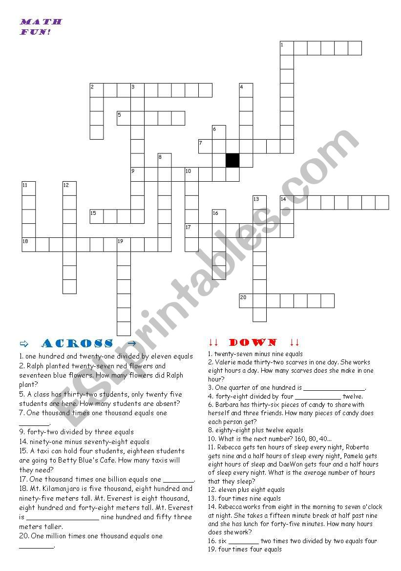 photograph regarding Math Crossword Puzzles Printable called Math crossword - ESL worksheet by means of Ben C