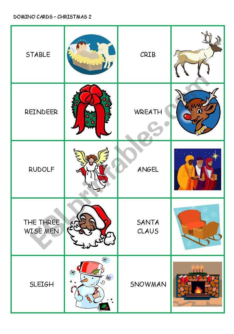 CHRISTMAS DOMINO CARDS 2/3 worksheet