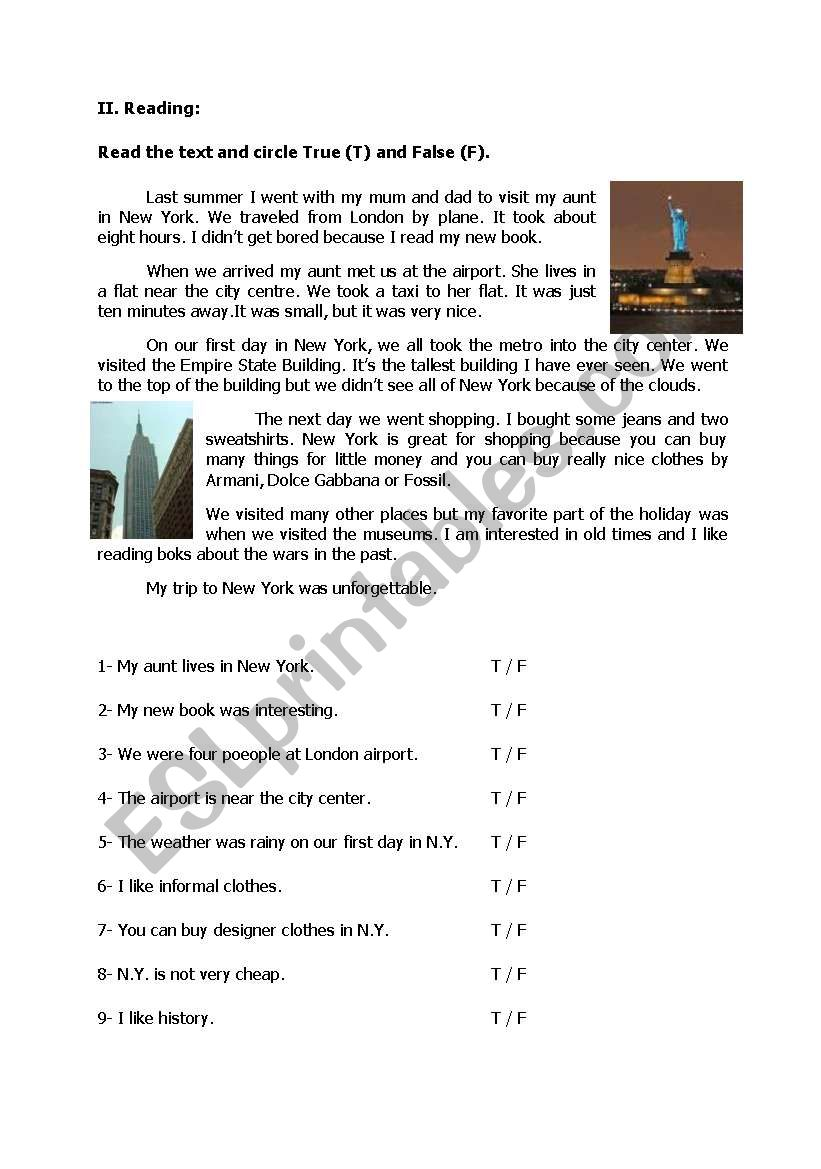 - Reading Comprehension With True False Questions - (Pre