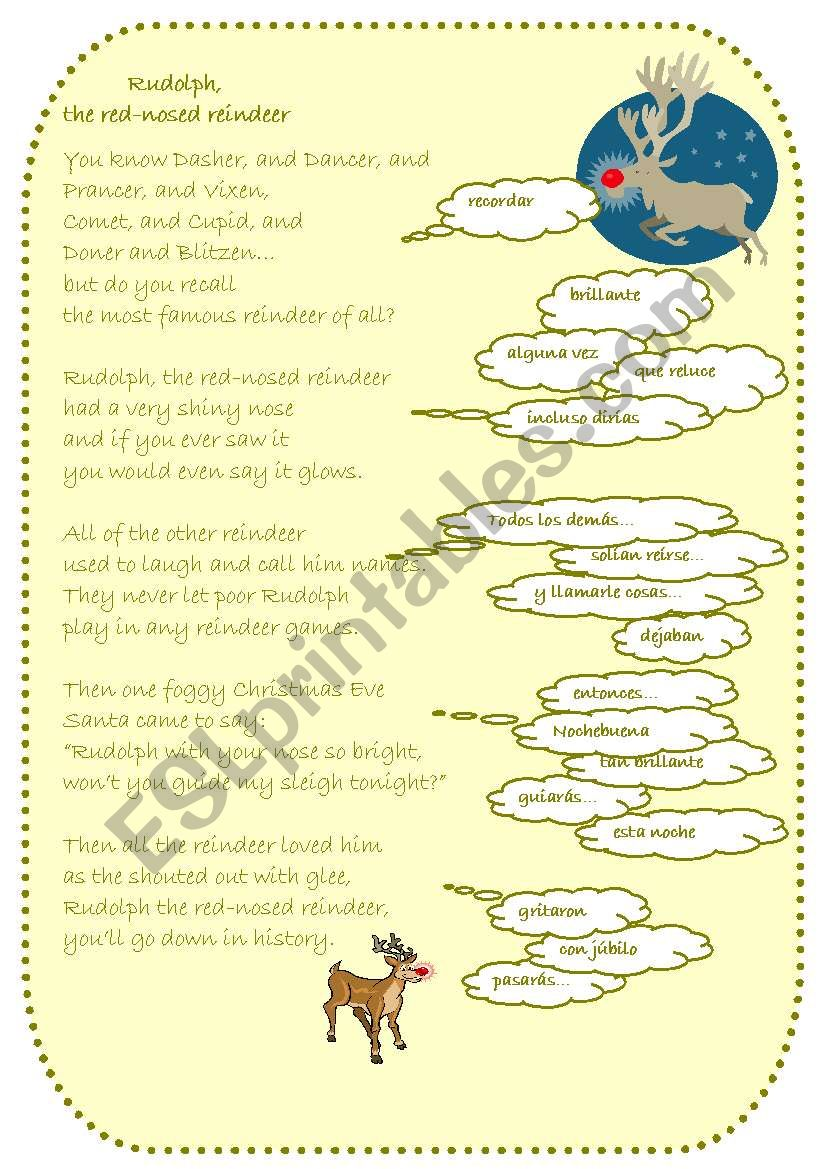 rudolph the red nosed reindeer esl worksheet by fernandez rudolph the red nosed reindeer esl