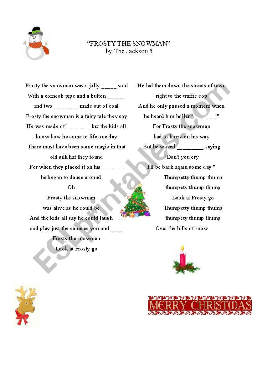 Frosty the snowman - a song for Christmas and winter time.