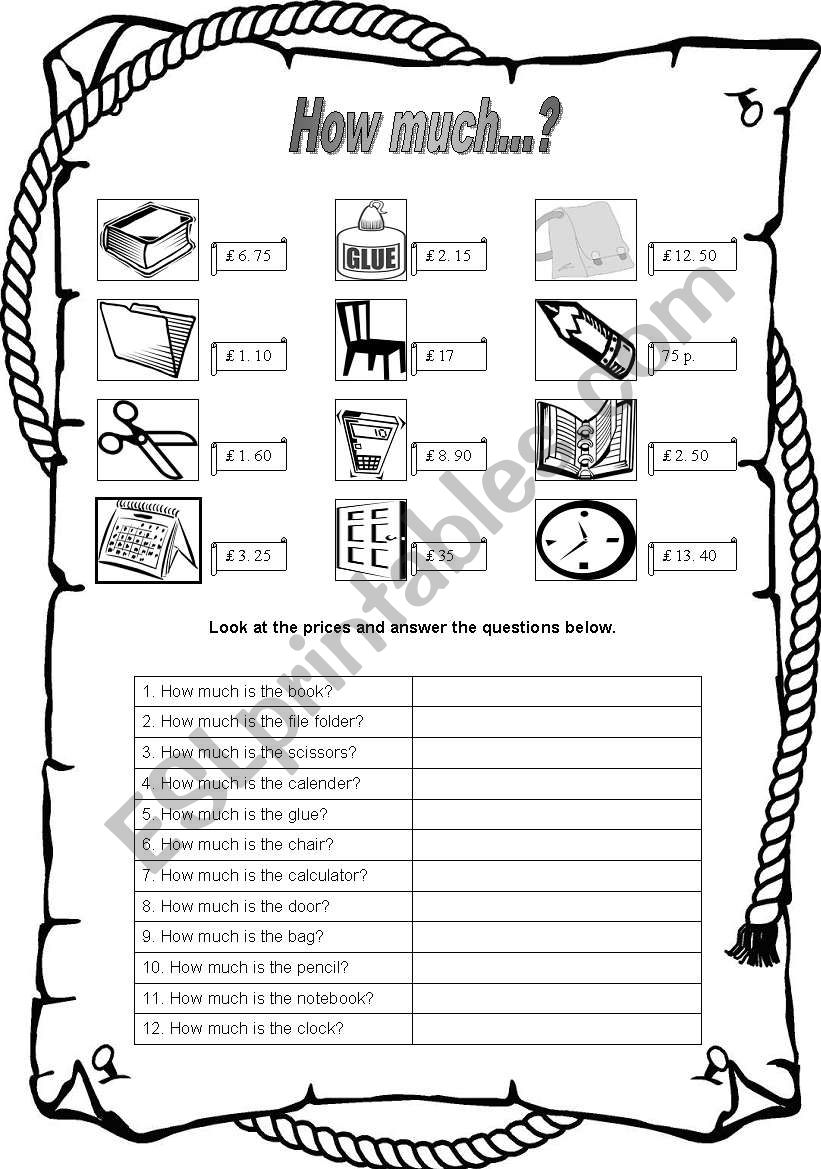 How much...? - Prices worksheet