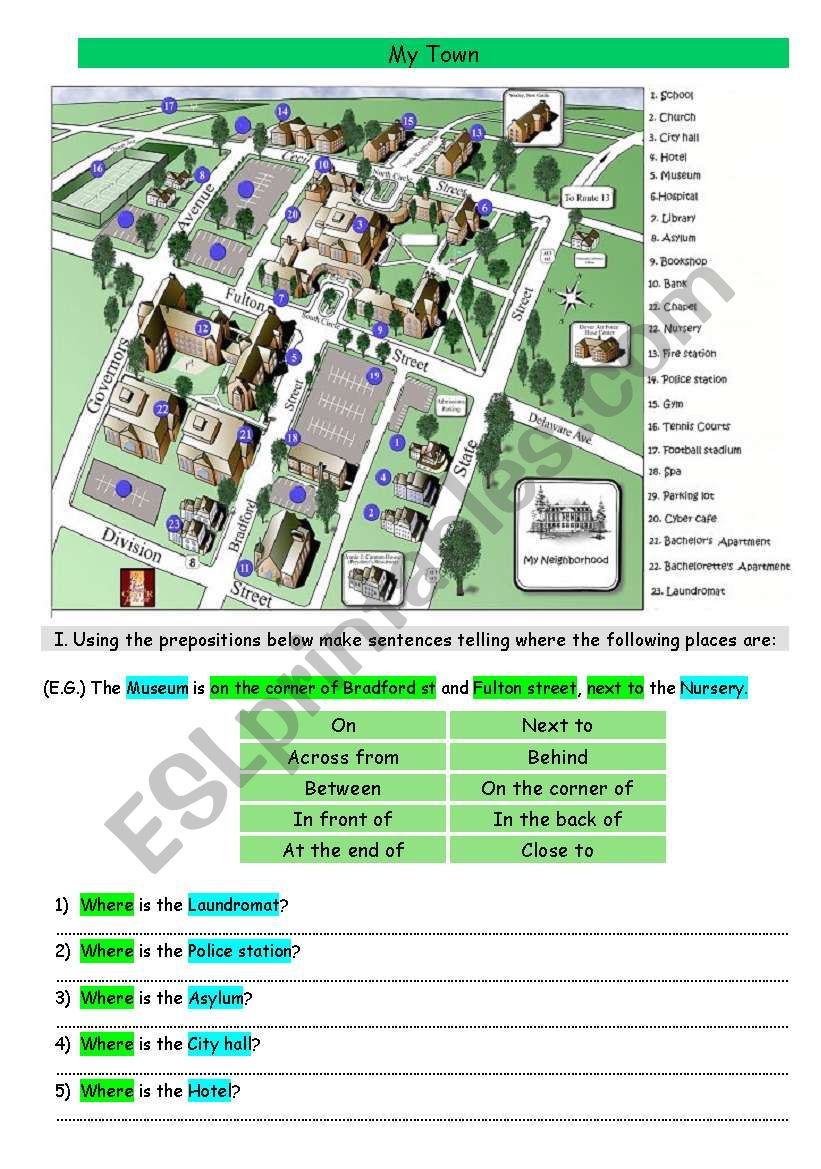 My Town Esl Worksheet By Mr Maru