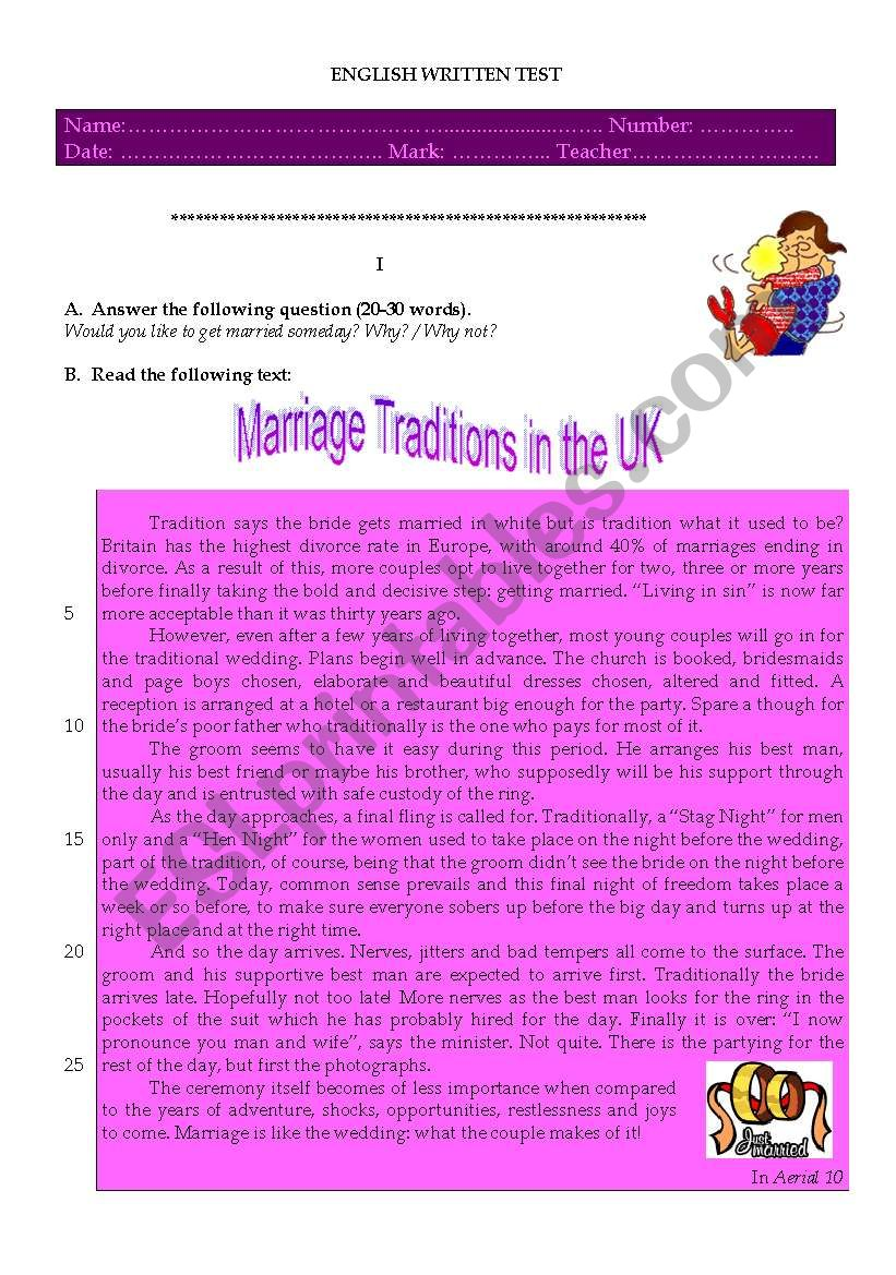 marriage traditions in the UK worksheet