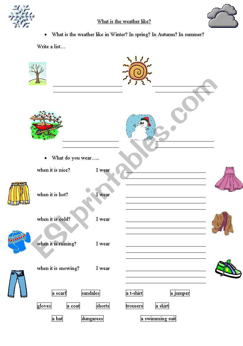 weather clothes and activities esl worksheet by ehamilton. Black Bedroom Furniture Sets. Home Design Ideas