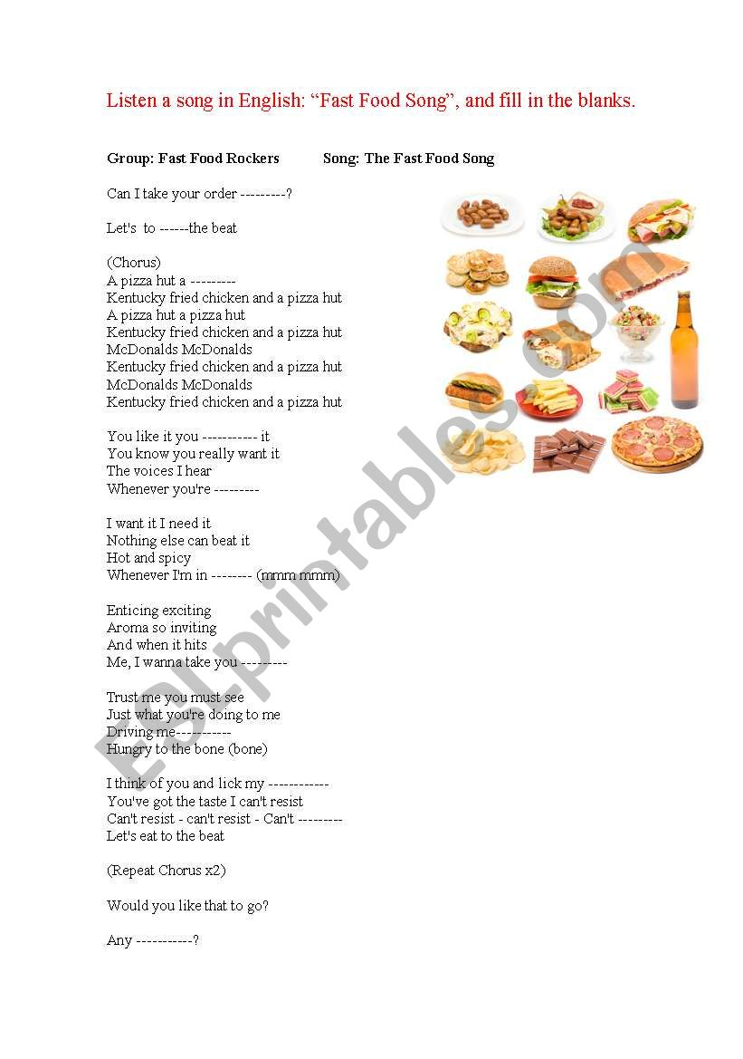 Fast Food Song Esl Worksheet By Marivalle