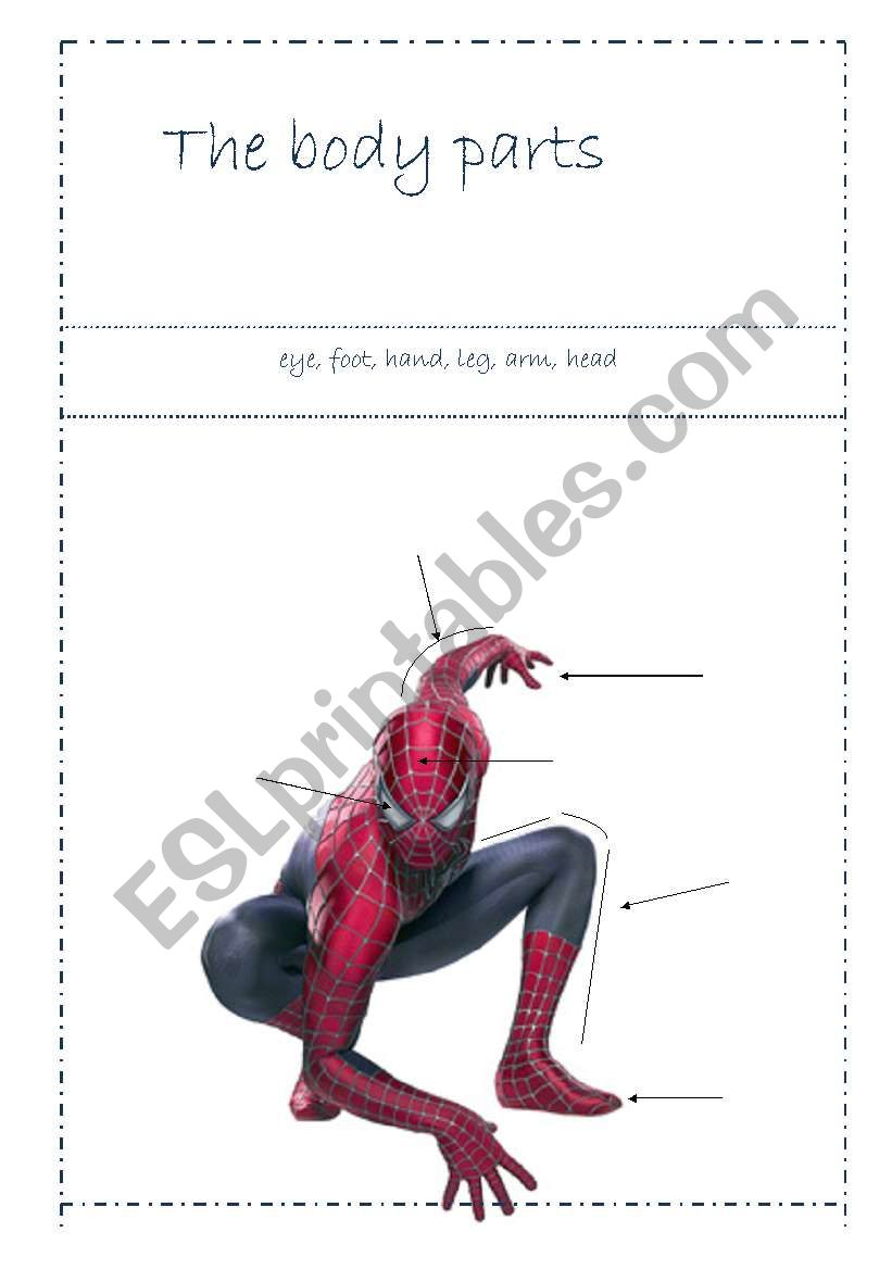 Spiderman - body parts worksheet