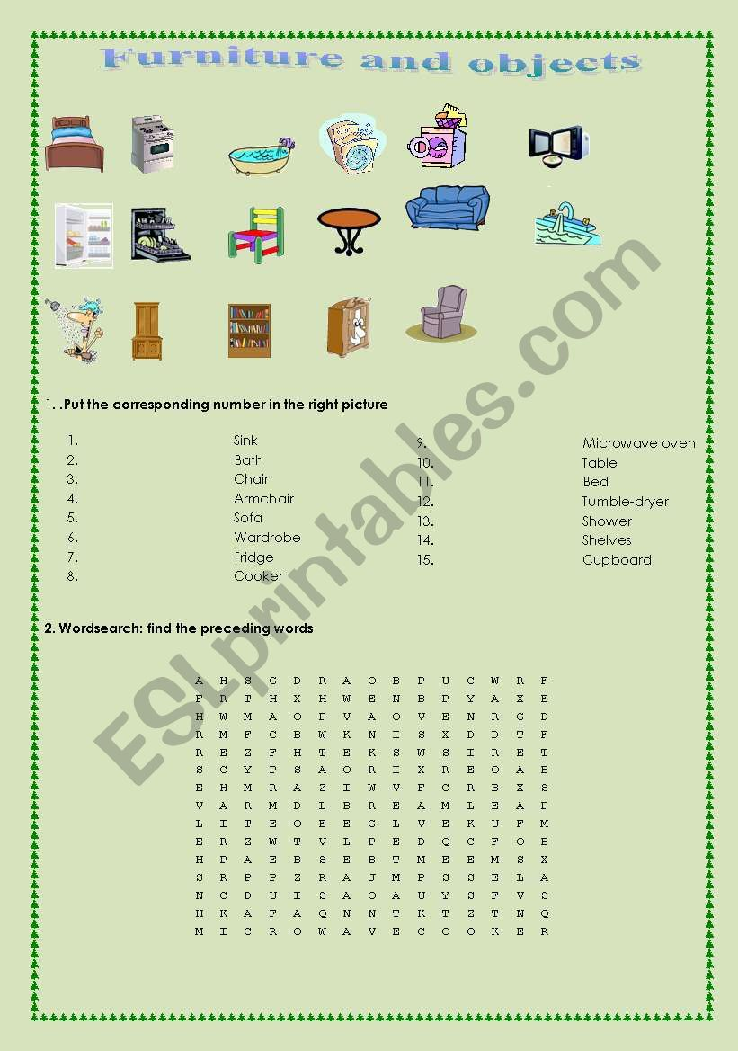 Furniture and objects worksheet