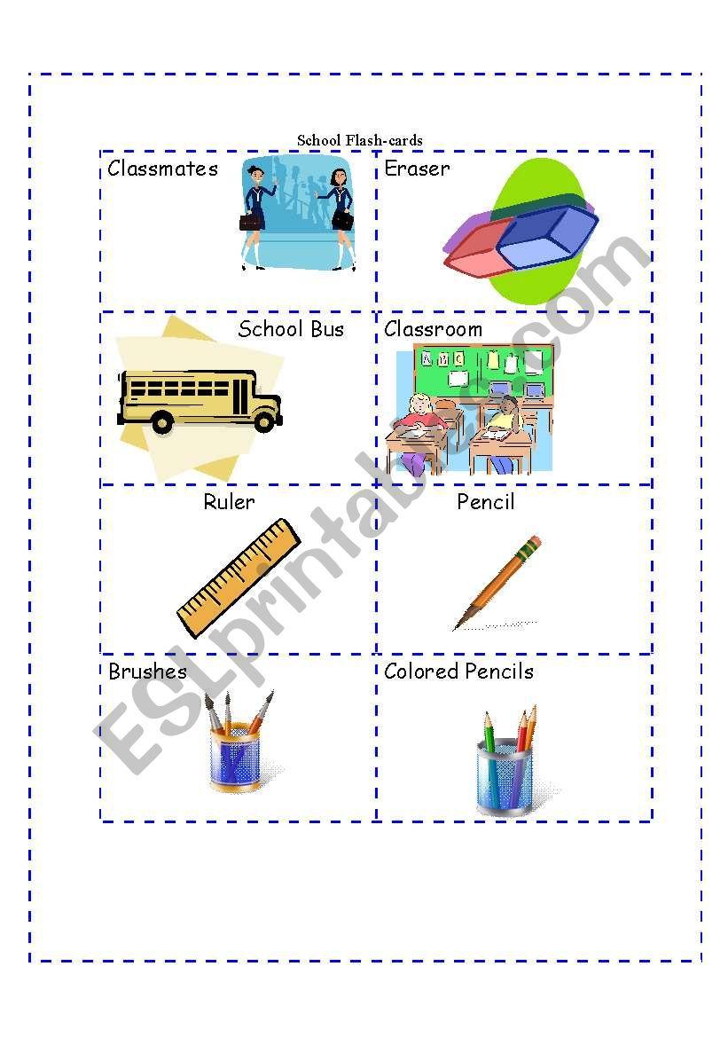 School Flash-cards worksheet