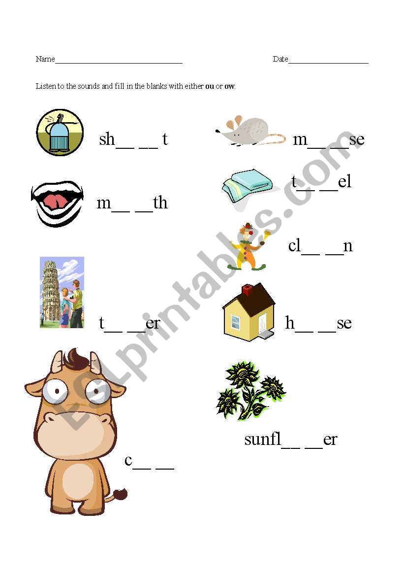 worksheet Ou And Ow Worksheets english worksheets ou and ow sounds worksheet
