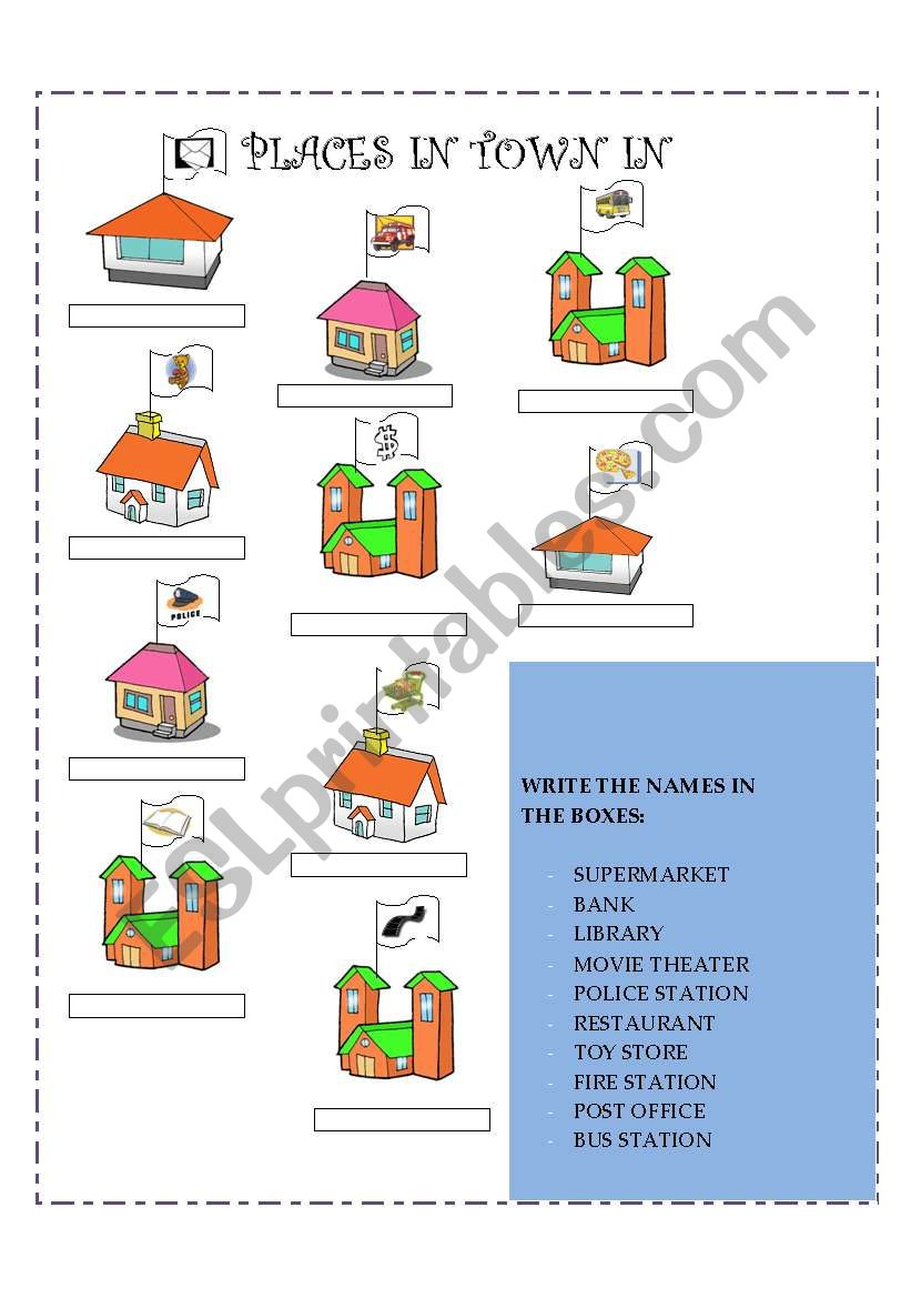 places in town esl worksheet by gaby mn. Black Bedroom Furniture Sets. Home Design Ideas