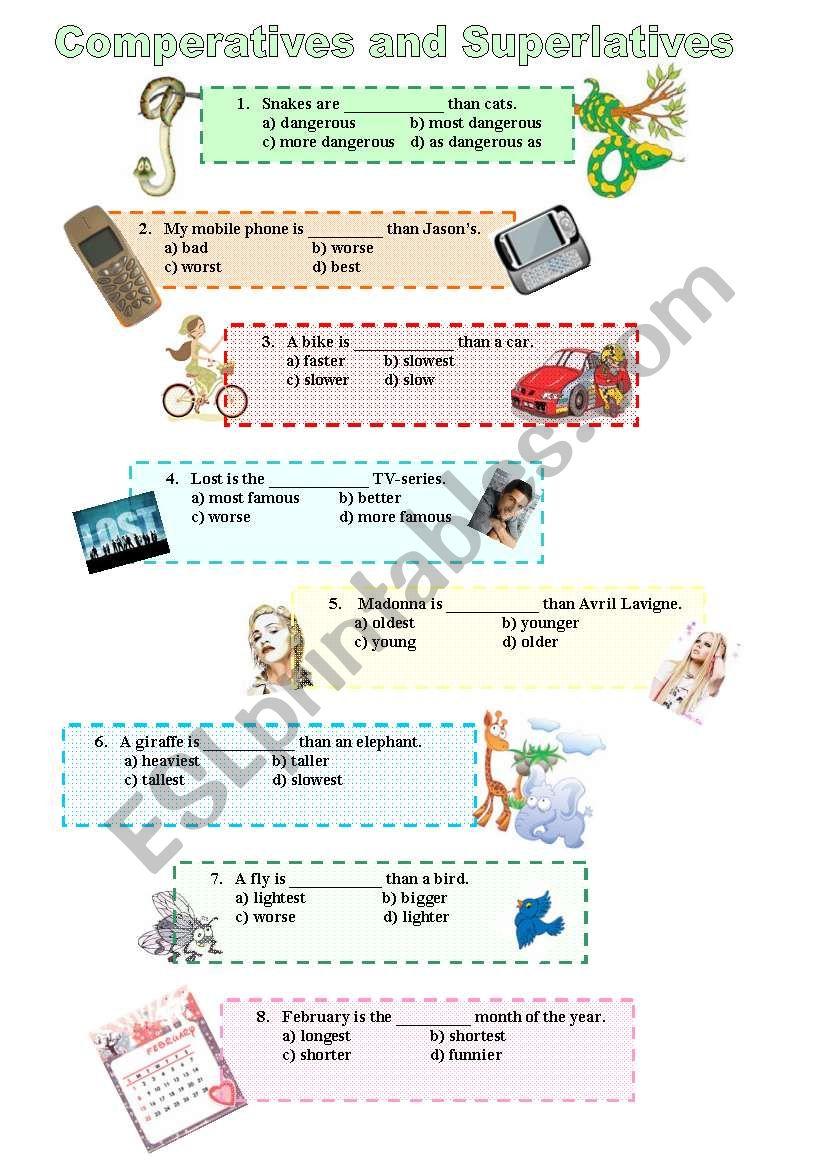 Comperatives and Superlatives worksheet