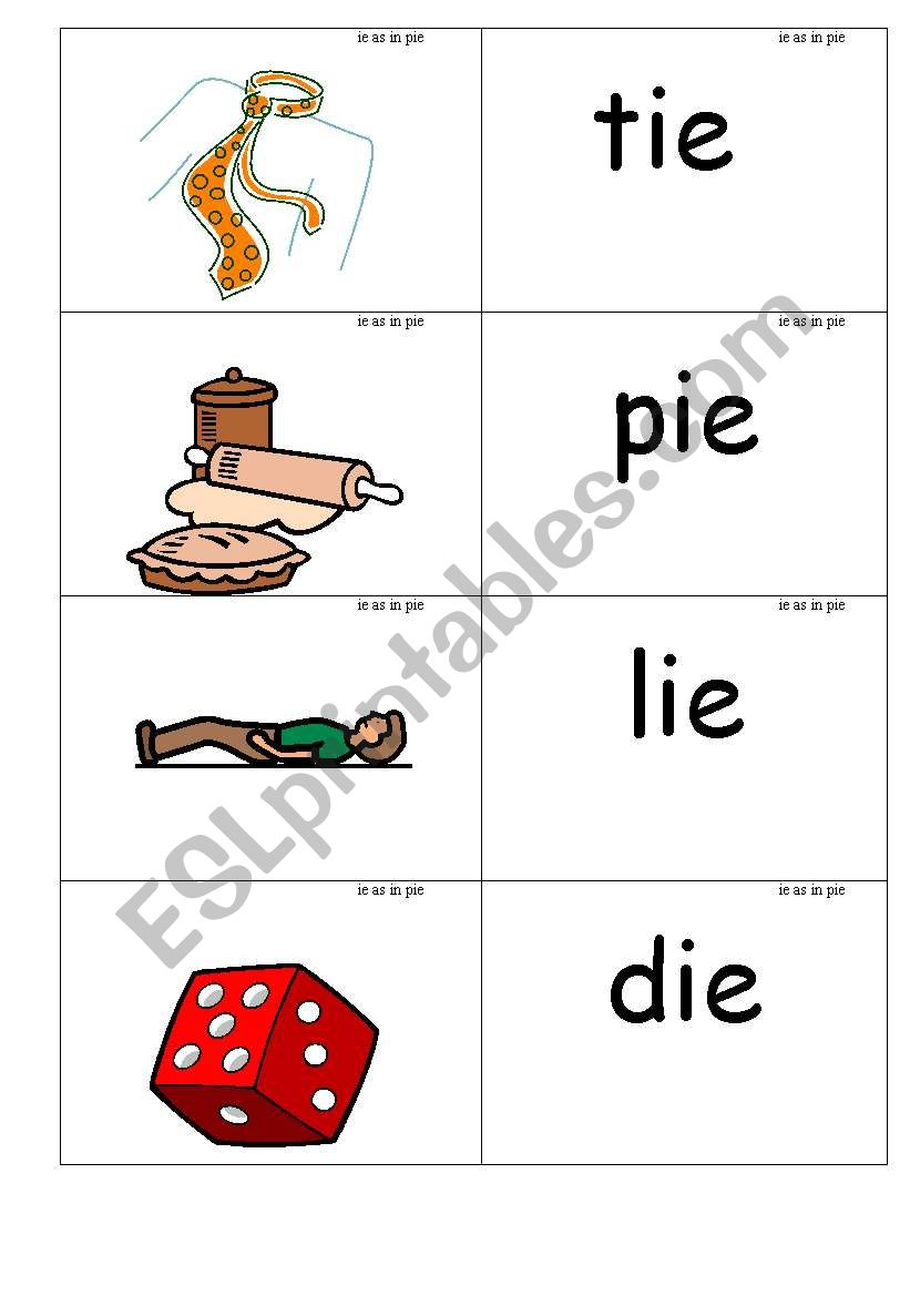 Word Picture Cards That Contains Ie Phonics Esl Worksheet By Jenniferoz69