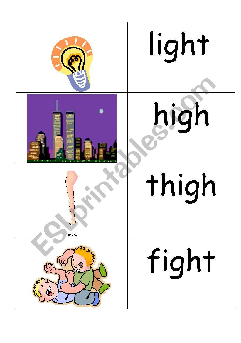 word /picture cards that contains ´igh´ phonics - ESL worksheet by  jenniferoz69