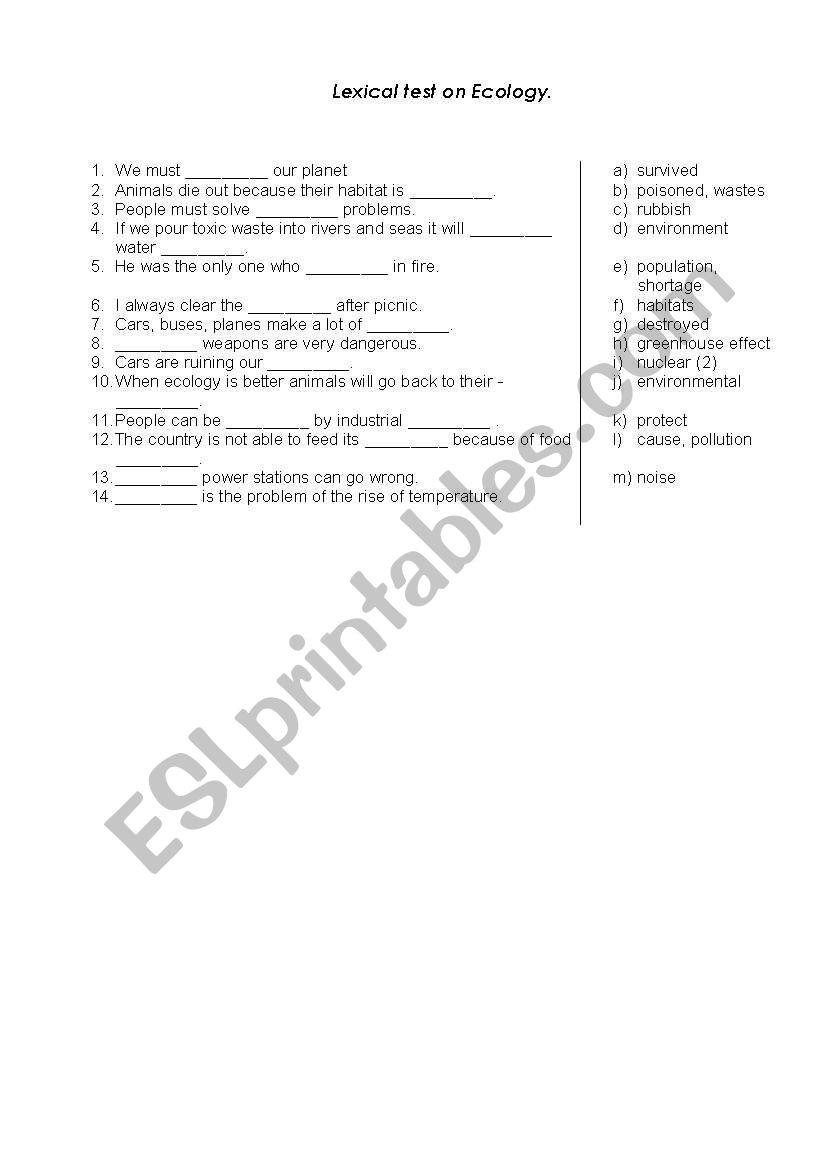 Lexical test on Ecology worksheet