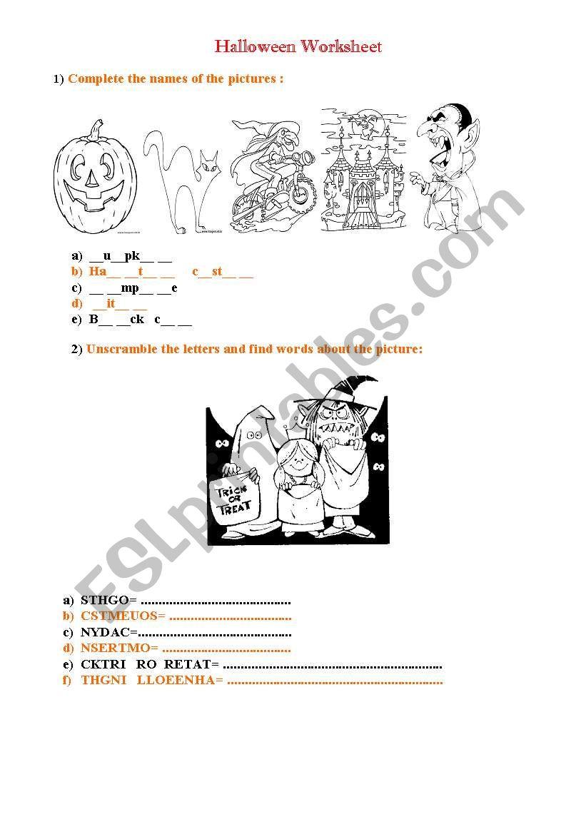 Halloween Worksheet worksheet
