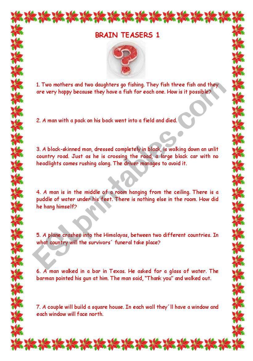 brainteasers 1 with key worksheet