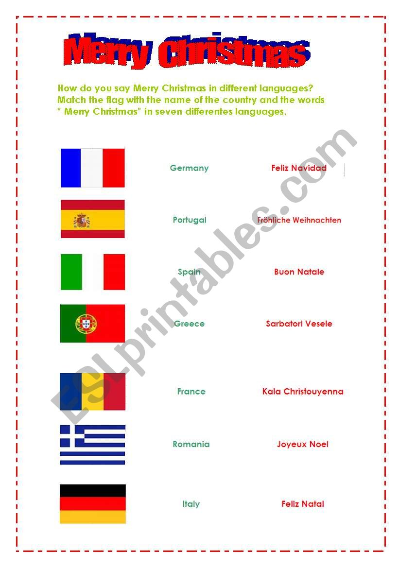 photo relating to Merry Christmas in Different Languages Printable titled English worksheets: Merry Xmas inside alternate languages
