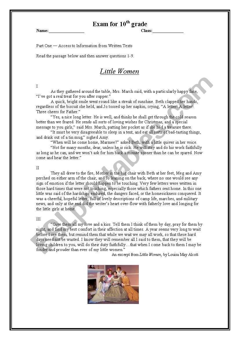 - Little Women - Reading Comprehension - ESL Worksheet By Anatavner