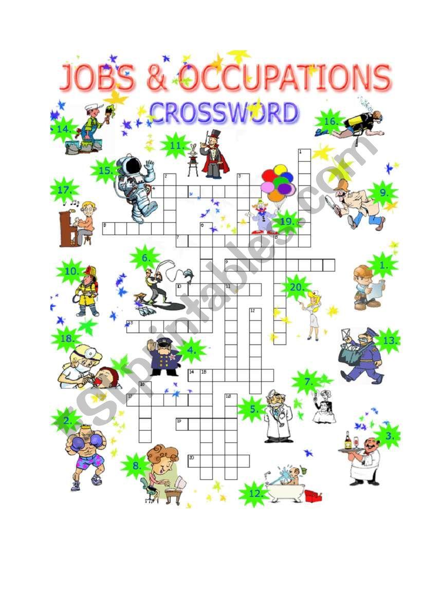 Jobs & Occupations CROSSWORD worksheet