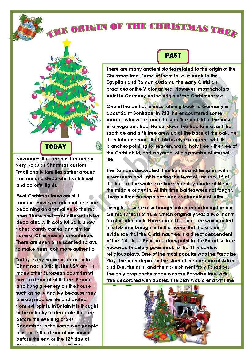 The Origin Of The Christmas Tree.English Worksheets The Origin Of The Christmas Tree