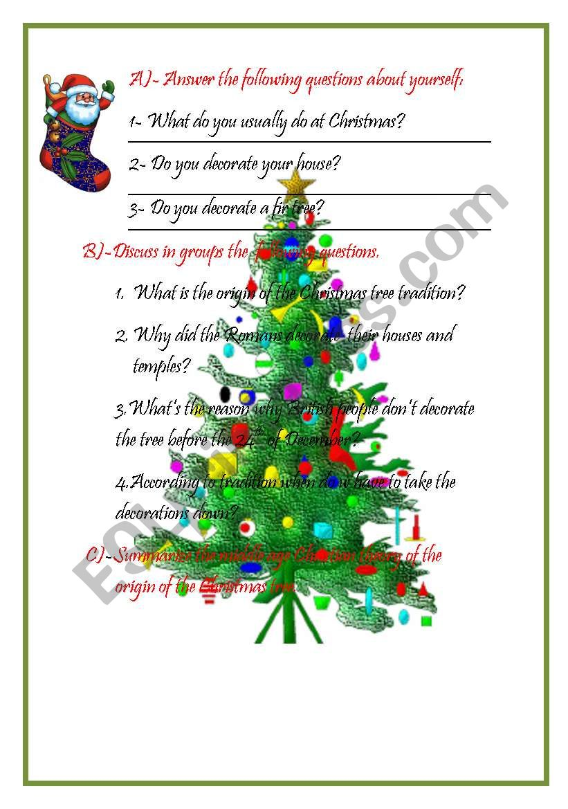 THE ORIGIN OF THE CHRISTMAS TREE - ESL worksheet by Anaisvi